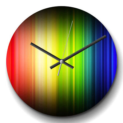Large Wall Clock Silent 32cm Modern Home Decor Rainbow Abstract Art (2)