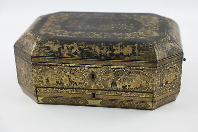 Antique Chinese Wooden Lacquered Sewing Box w/ Gold Tone Ornate Detailing