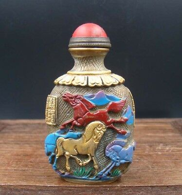 Collectible 100% Handmade Carving Painting Brass Snuff Bottles NO-20