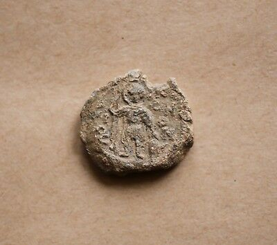 BYZANTINE LEAD SEAL/ BLEISIEGEL:SAINT CONON/ PETER PATRICIUS (7th c.).EXCELLENT!