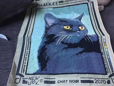 Unfinished TAPESTRY NEEDLEPOINT cat 30x22cm no wool included