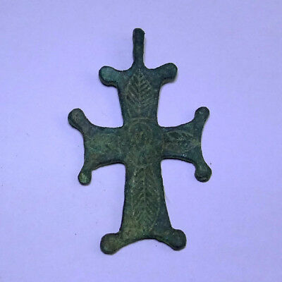 Ancient Artifact Byzantine Bronze Cross With Saint
