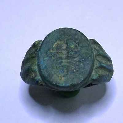 Roman Ancient Artifact Bronze Legionary Ring With Scorpio