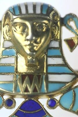 Antique Egyptian Revival Enamel Art Deco King Tut Sterling 800 Silver Jewelry NR