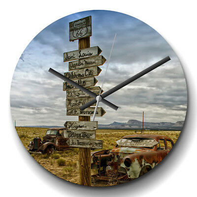 Large Wall Clock Silent Decor Route 66 Road Sign & Rusted Car Modern Transport