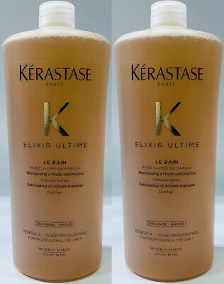 Elixir Ultime : 2 X NEW Le Bain 1000ML Kerastase + Free Pump