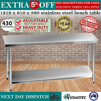 430 Stainless Steel Bench Table Commercial Work Kitchen Home Prep Food Grade NEW