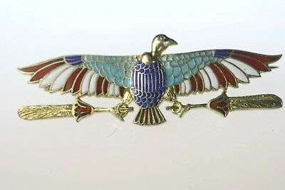 Antique Egyptian Revival Silver Enamel Art Deco God Bird Horus Pin Jewelry NR