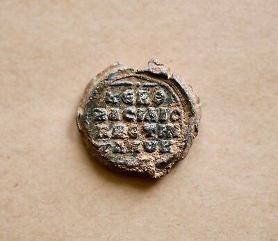 Byzantine Lead Seal/ Bleisiegel: Military Saint/greek Inscription. Excellent!