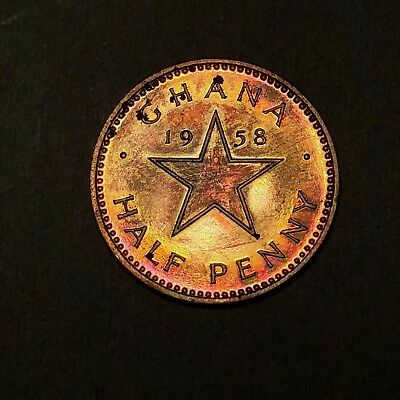1953 Ghana Half Penny - Gem Proof - Colorful Toning