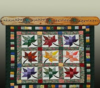 """Quilt Hangers,""""Orange Fall Flowers"""",Will hold 33.5"""" Quilt or Rug.One of a Kind!"""