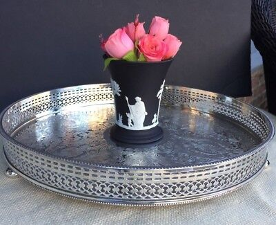 Vintage Antique English Silver Plate Gallery Tray