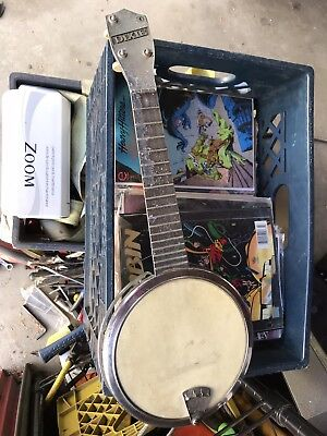 DIXIE Metal Banjo Uke - Cast metal - used,  overall condition - Fair