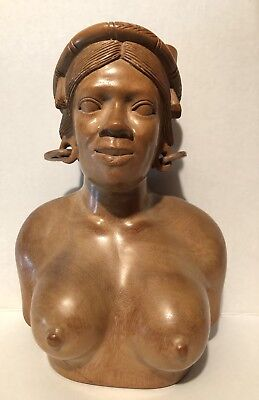 Fine vintage hand carved South African Zulu tribe large wooden bust 13""