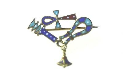 Antique Sterling Silver 800 Silver Egyptian Revival Enamel Art Deco Pin Brooch