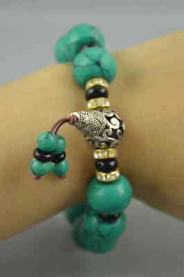 Fine Collect Old Tibet Silver Turquoise Buddha Bead Elastic Bracelet Gift Rare