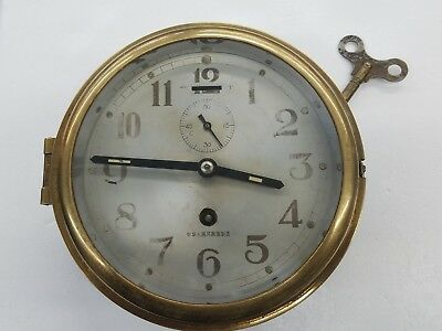 """Vintage Ships Clock In Brass """"as Is"""" Winds & Works"""