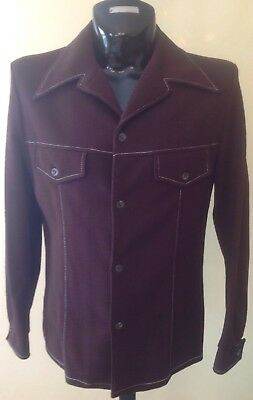 VTG 70's Disco JC Penney Leisure Jacket Brown W Contrast Stitching Mens 42