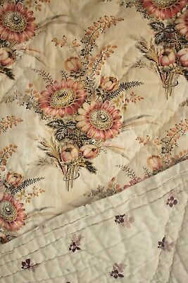 Antique French quilt hand stitched floral and small scale floral c 1810 90X80