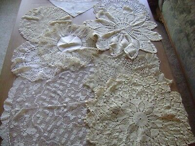 46 PCS Vintage Cutter Crochet Doilies,Runners,Cutwork Embroidered Table Cloths
