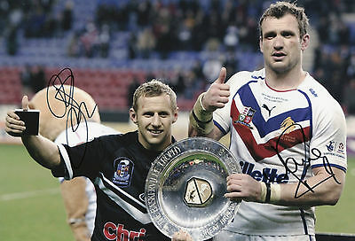 ROB BURROW & JAMIE PEACOCK In Person Signed 12x8 Photo LEEDS RHINOS Proof COA