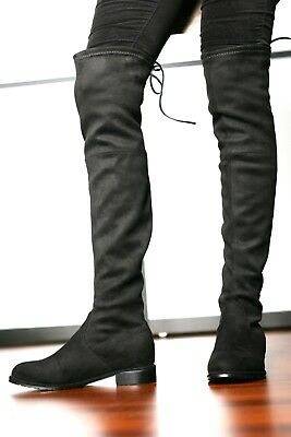Womens - Girls Over The Knee Flat Heel Boots in Black or Olive Faux Suede