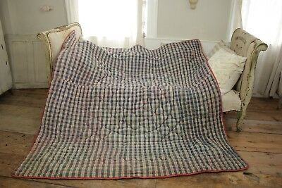 Check Fabric Antique French c1850 blue plaid design large textile 81X79 inches
