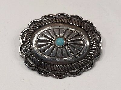 Antique Old Pawn Navaho Silver Turquoise Concho Pin Brooch C Clasp/Catch