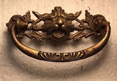 """Lion Head 3"""" Drawer Pull, Antique Solid Brass Per Each"""