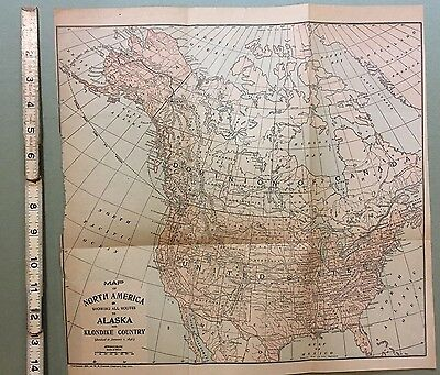 Map of North America, Routes To Alaska and Klondike Country 1897.