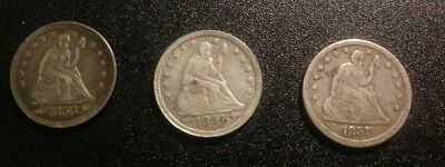 Three Seated Liberty Quarters In Excellent Shape, 1853 AR, 1854A, 1857