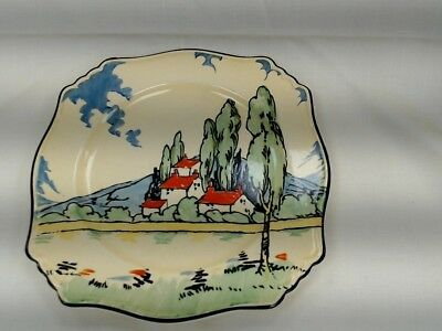 """Unusual Art Deco Vintage Hand Painted Square Red Roof Cake Plate 8.5"""" #325"""