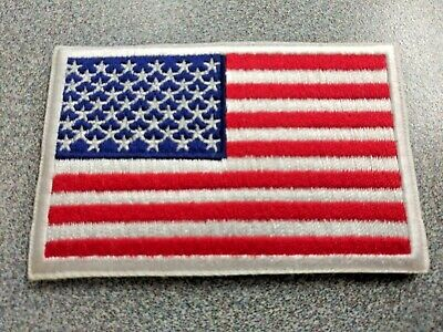AMERICAN FLAG EMBROIDERED Tactical PATCH WHITE BORDER USA US w/ VELCRO® Fastener