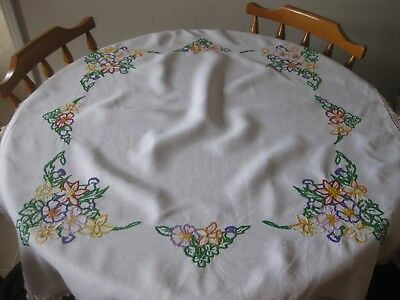 Vintage Hand Embroidered Table cloth Colour White