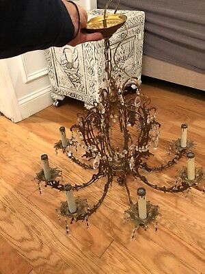 Vintage Brass Hanging 8 Arm Light Chandelier Fixture
