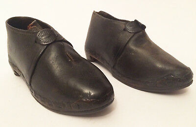 Antique Children's Child's Leather Lancashire Clogs Shoes 14cm