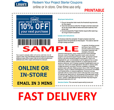 1X One Lowes 10% Off Printable Discount 1Coupon - Online or Store - FAST EMAIL