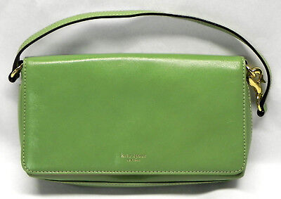 Kate Spade Bright Green Pink Leather Clutch Small Purse Handbag 9