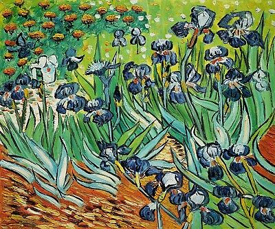 Iris- #2, Van Gogh, 20x24 Hand Painted Oil Painting,Reproduction on Canvas