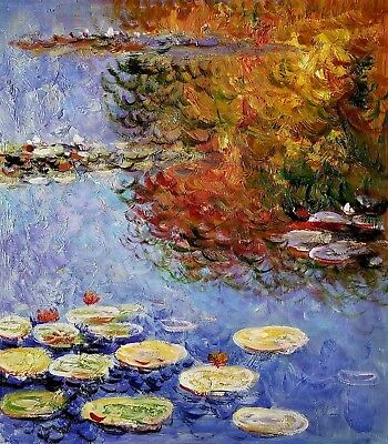 Pond Monet Style- #2, Van Gogh, 20x24 Oil Painting Reproduction on Canvas