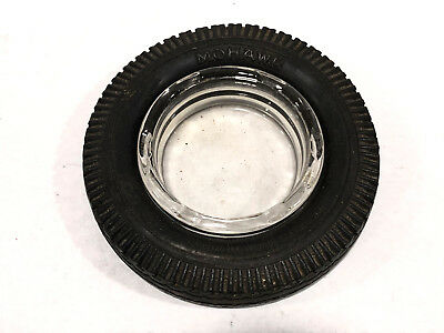 Antique Mohawk Rubber Tire Ashtray Advertising Glass Insert Automobile Bar Akron