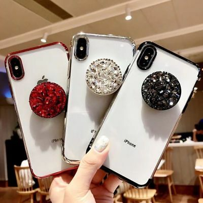 For iPhone 7 8 Plus XS Max XR Soft Plating Case Cover With Diamond Pop Up Holder