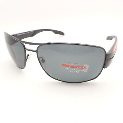 6023292fdd NEW PRADA LINEA Rossa PS 53NS 1BO5Z1 Shiny Black Sunglasses Gray ...
