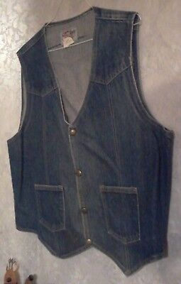 Vintage Saddle Kings Mens Large Western Vest Brass Snaps VERY GOOD CONDITION