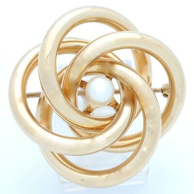 ESTATE PEARL SOLID 14K YELLOW GOLD PIN BROOCH KNOT FLOWER FINE 6.8g (GP1008908)