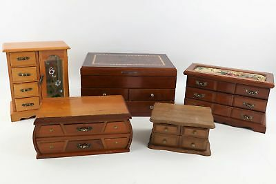 5 x Vintage Wooden JEWELLERY BOXES Various Sizes & Styles