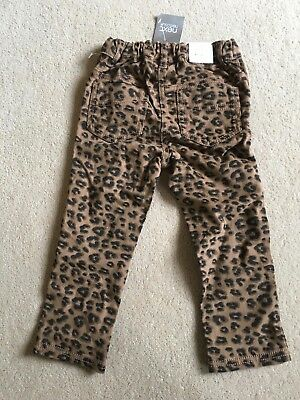 Bnwt NEXT Girls Fantastic Leopard Print Jeans Adjustable waist 18m-2 yrs