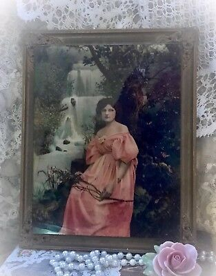 "Antique LITHOGRAPH Reverse Painted GLASS~Art Nouveau~ULLMAN MFG 1890's 8.5"" X 11"