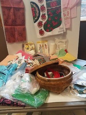 Lot VTG Sewing Items Wicker basket Patterns Fabric Buttons Zippers Cross stitch