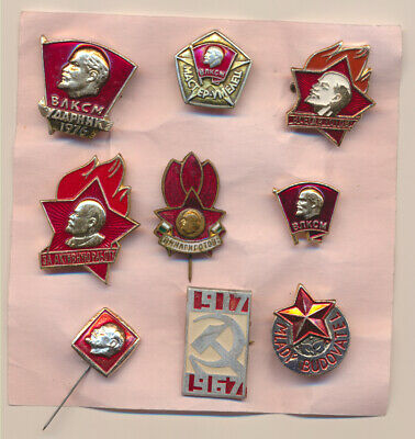 Lenin pioneer the Komsomol of the USSR and the socialist countries -9 badges pin
